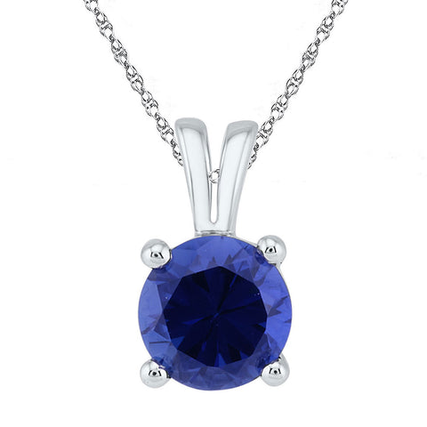 10kt White Gold Womens Round Lab-Created Blue Sapphire Solitaire Pendant 1-1/3 Cttw