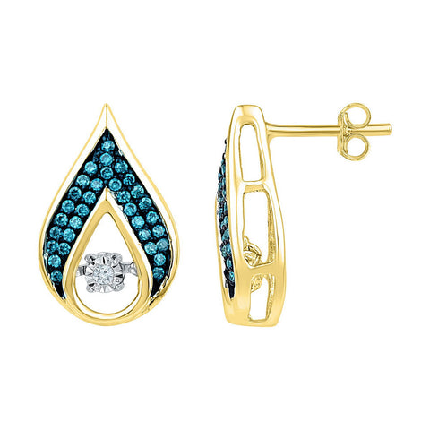 10kt Yellow Gold Womens Round Blue Color Enhanced Diamond Teardrop Earrings 1/4 Cttw