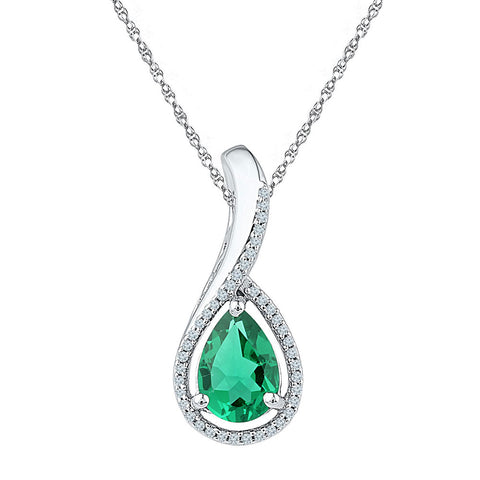 Sterling Silver Womens Pear Lab-Created Emerald Teardrop Pendant 2 Cttw