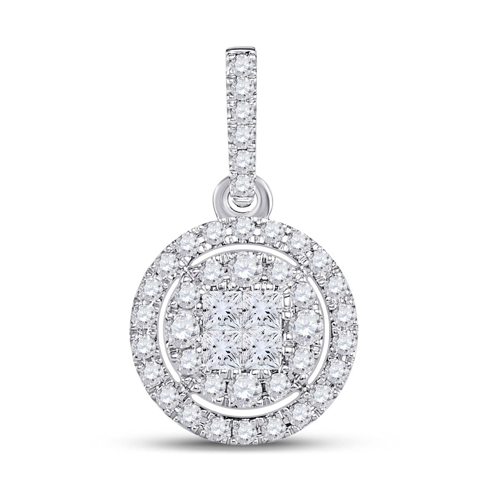 14kt White Gold Womens Princess Diamond Fashion Halo Cluster Pendant 1/2 Cttw
