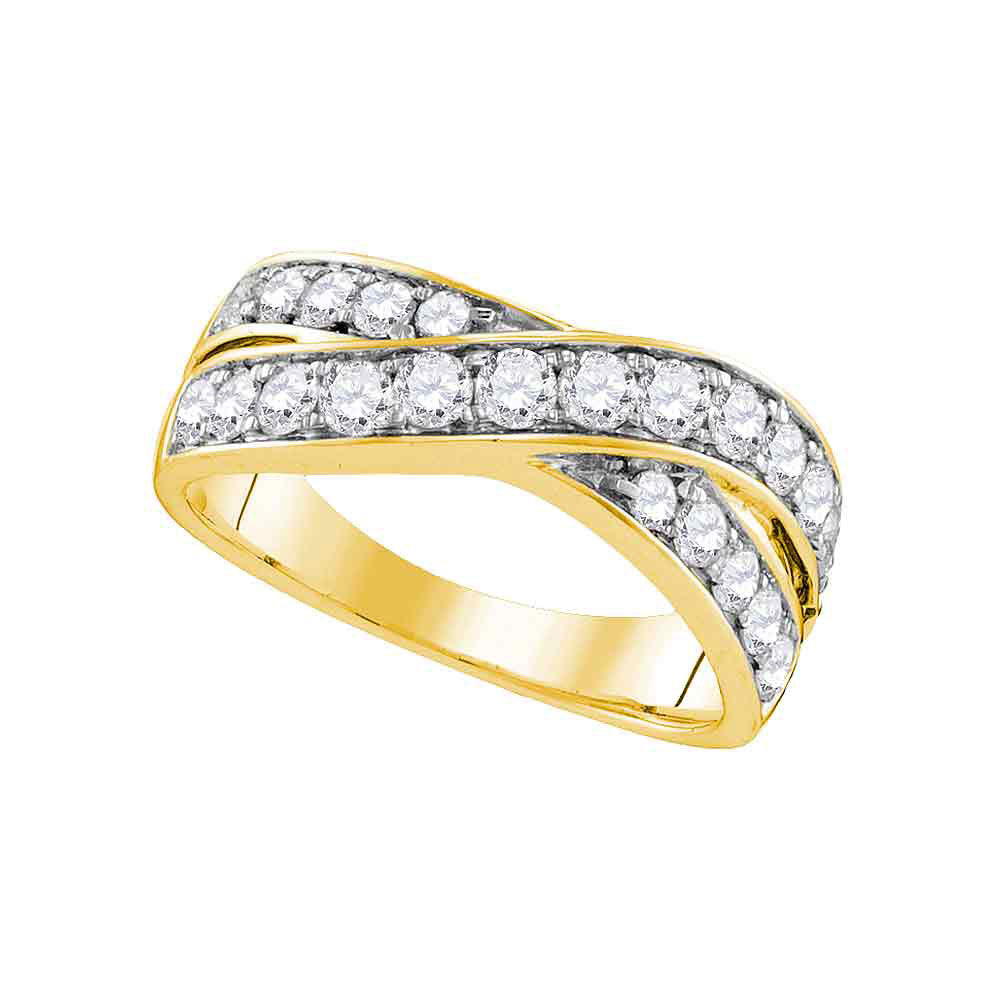 14kt Yellow Gold Womens Round Diamond Double Row Crossover Band 1 Cttw