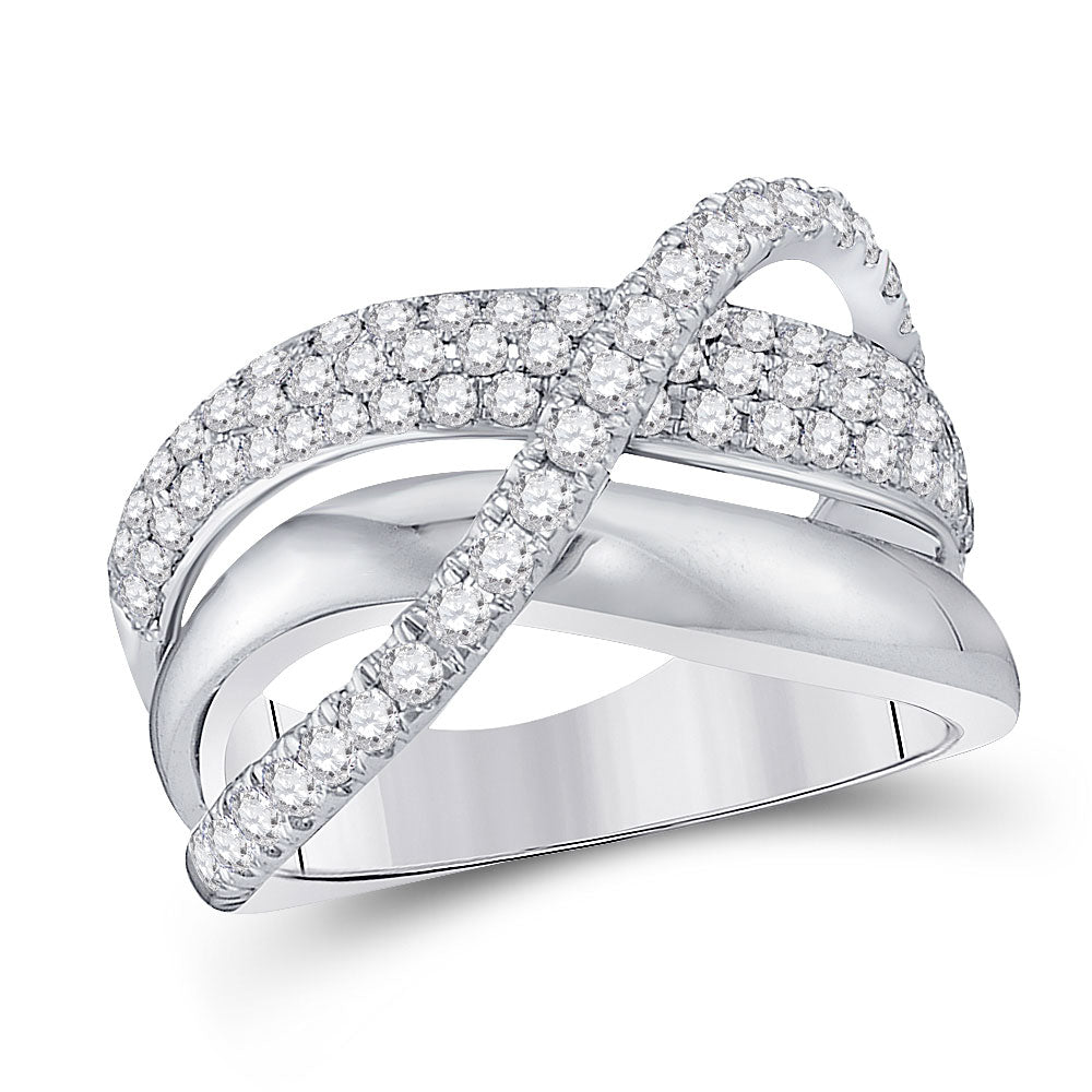 14kt White Gold Womens Round Diamond Modern Crossover Band Ring 1 Cttw