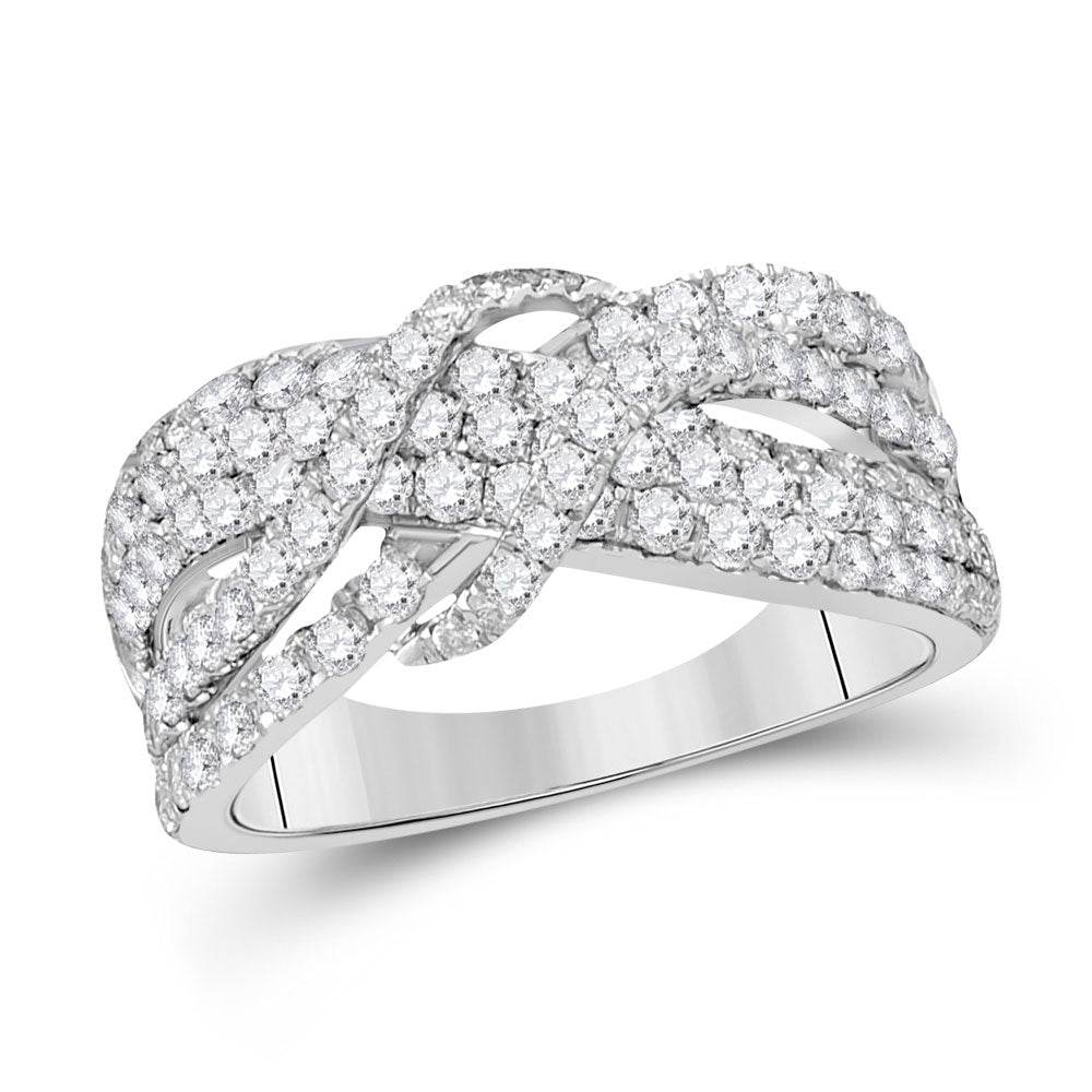 14kt White Gold Womens Round Diamond Crossover Band Ring 1-1/2 Cttw