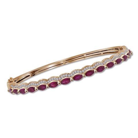14kt Rose Gold Womens Marquise Ruby Diamond Bangle Bracelet 3/8 Cttw