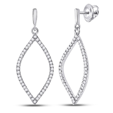 10kt White Gold Womens Round Diamond Oval Outline Dangle Earrings 1/4 Cttw