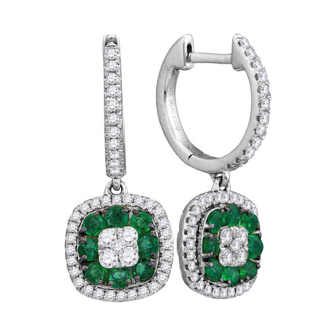 18kt White Gold Womens Round Emerald Diamond Dangle Earrings 1 Cttw