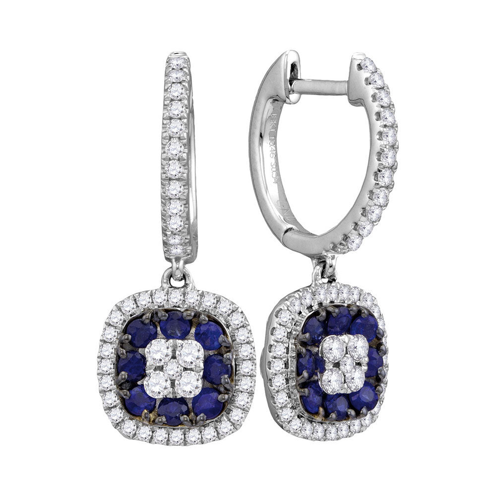 18kt White Gold Womens Round Blue Sapphire Square Dangle Earrings 1 Cttw
