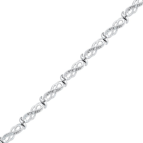 Sterling Silver Womens Round Diamond Infinity Link Bracelet .01 Cttw