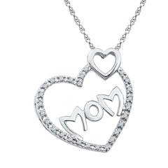 Sterling Silver Womens Round Diamond Mom Mother Double Heart Pendant 1/10 Cttw