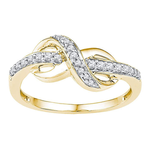 10kt Yellow Gold Womens Round Diamond Knot Infinity Ring 1/6 Cttw