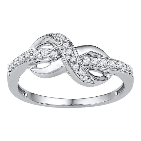 10kt White Gold Womens Round Diamond Knot Infinity Ring 1/6 Cttw