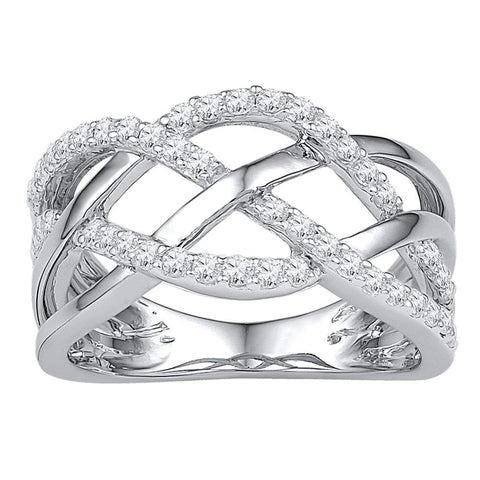 10kt White Gold Womens Round Diamond Woven Crossover Band Ring 1/3 Cttw