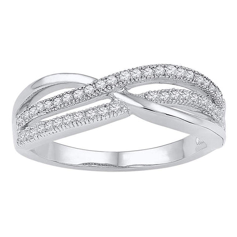 10kt White Gold Womens Round Diamond Crossover Band Ring 1/5 Cttw