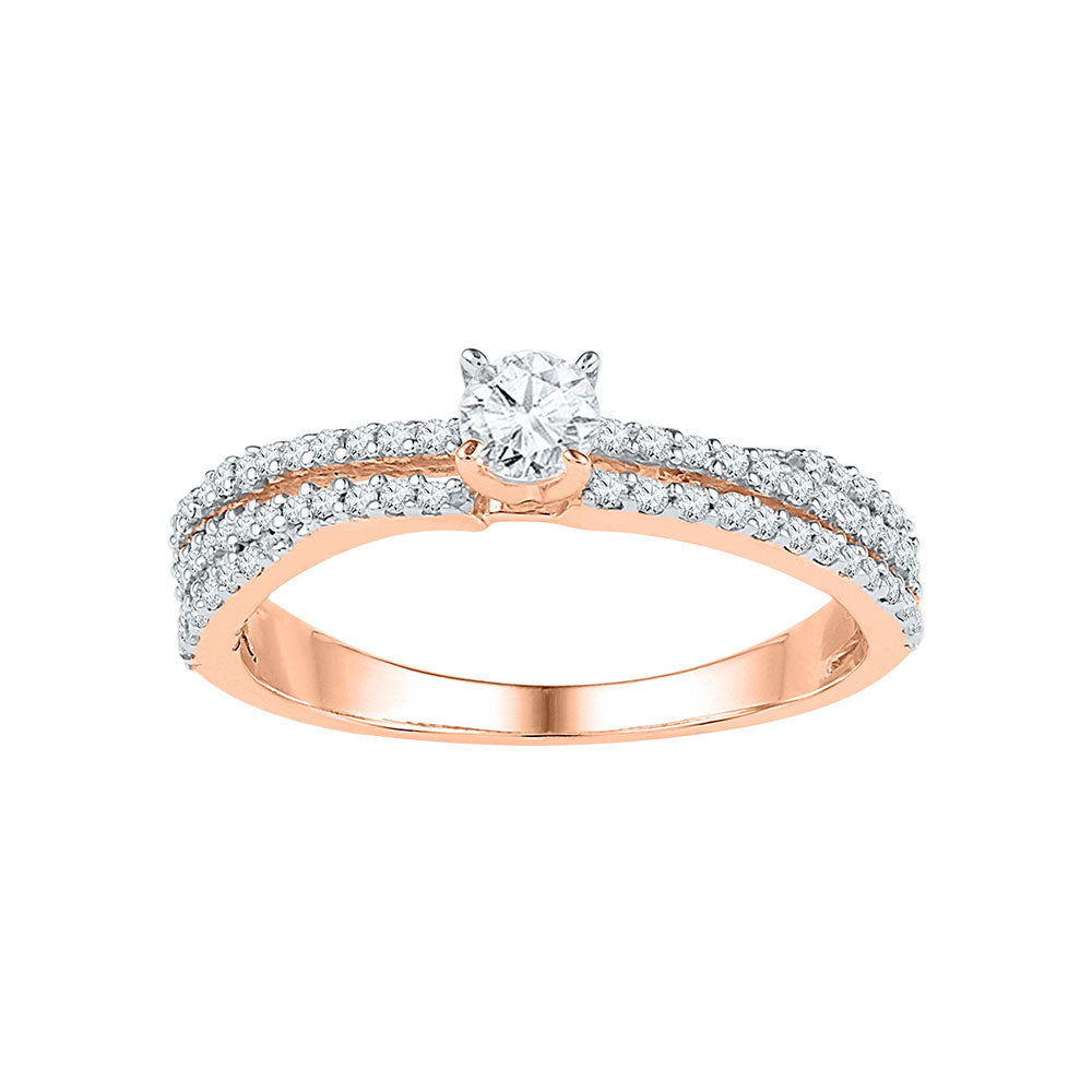 10kt Rose Gold Round Diamond Solitaire Bridal Wedding Engagement Ring 1/2 Cttw