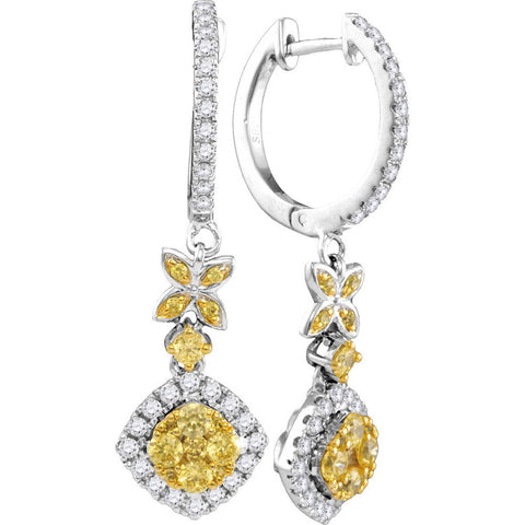 14kt White Gold Womens Round Yellow Diamond Cocktail Dangle Earrings 1 Cttw
