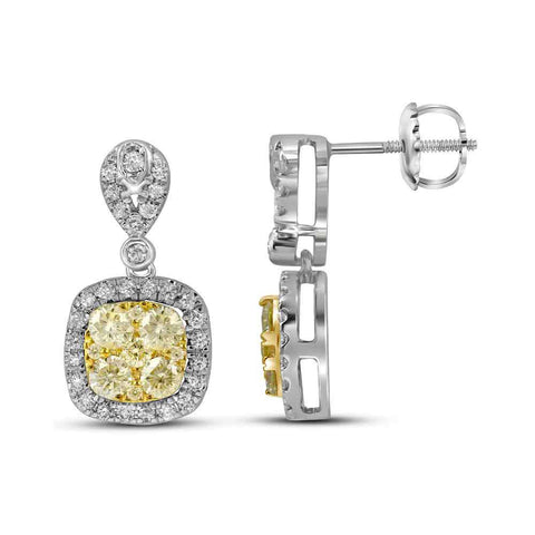 14kt White Gold Womens Round Yellow Diamond Square Dangle Earrings 1-1/5 Cttw