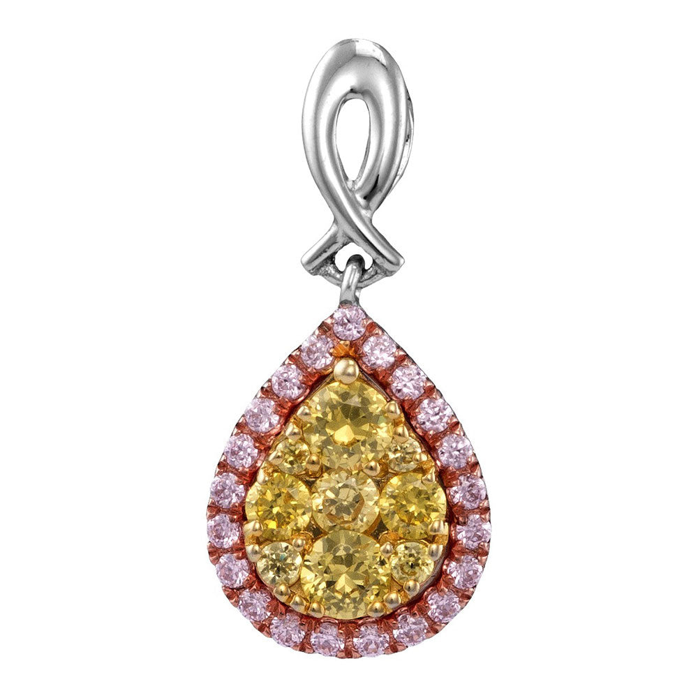 14kt White Gold Womens Round Yellow Pink Diamond Teardrop Cluster Pendant 5/8 Cttw
