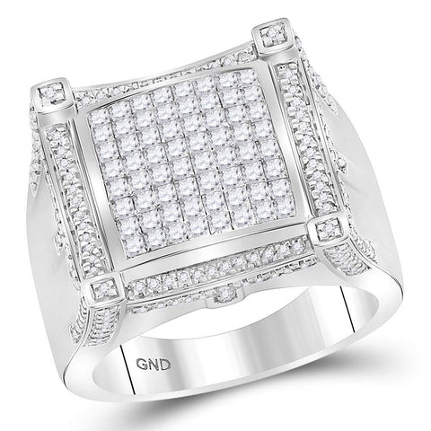 10kt White Gold Mens Princess Diamond Square Cluster Ring 2 Cttw