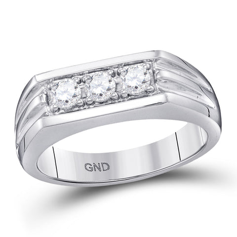 10kt White Gold Mens Round Diamond 3-Stone Ribbed Band Ring 1/2 Cttw