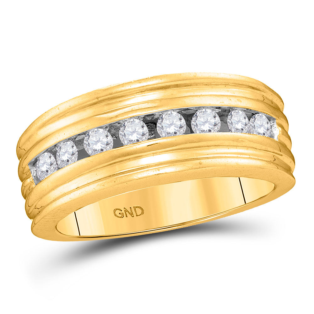 10kt Yellow Gold Mens Round Diamond Ridged Single Row Wedding Band Ring 1/2 Cttw