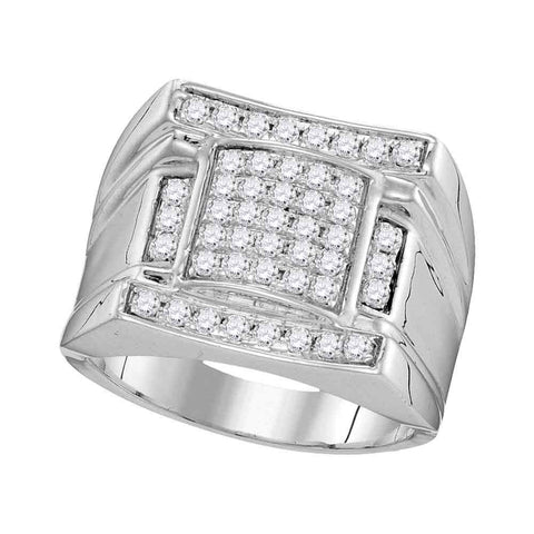 10kt White Gold Mens Round Diamond Arched Square Cluster Ring 1 Cttw