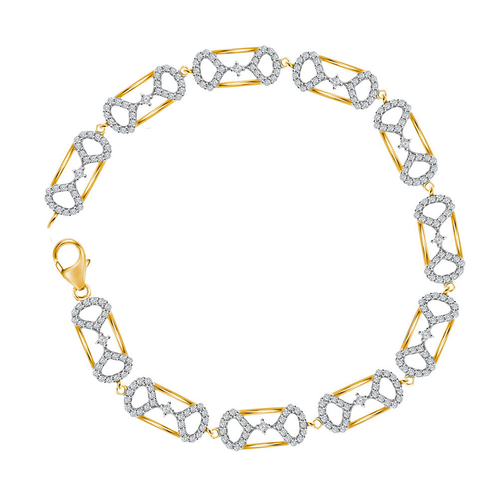 10kt Yellow Gold Womens Round Diamond Fashion Bracelet 1 Cttw