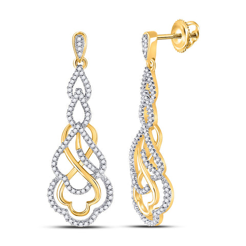 10kt Yellow Gold Womens Round Diamond Interwoven Dangle Earrings 1/2 Cttw