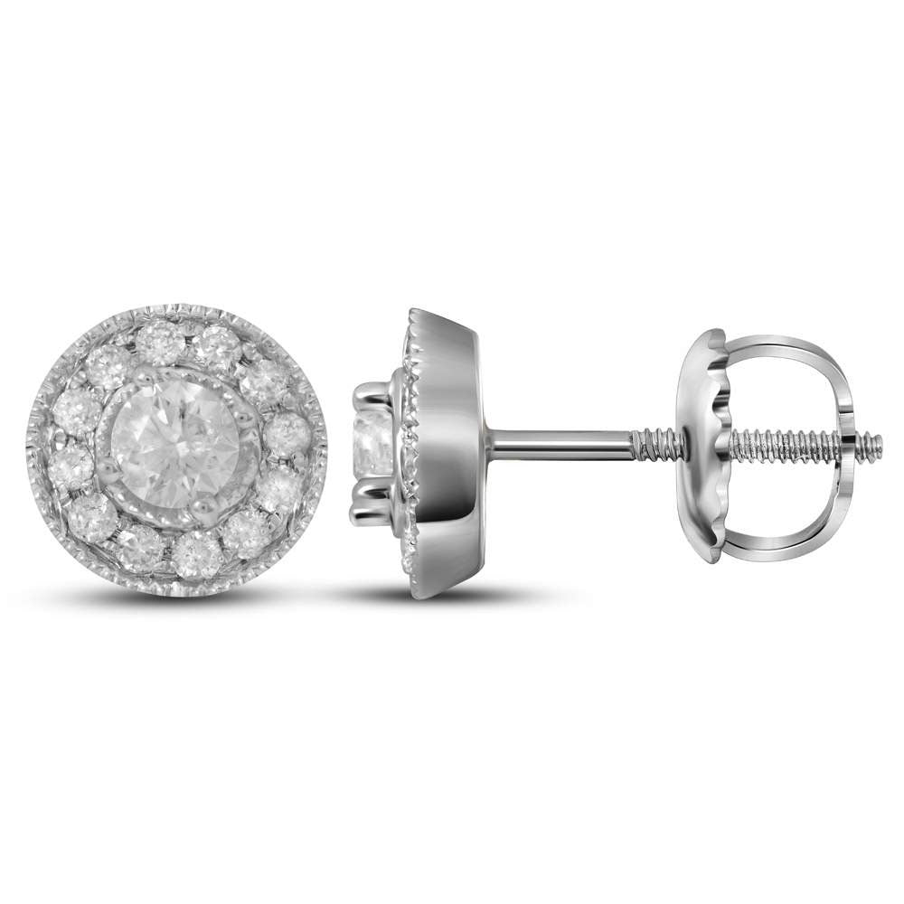 14kt White Gold Womens Round Diamond Halo Earrings 1/3 Cttw