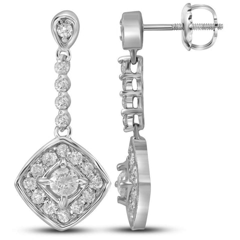 14kt White Gold Womens Round Diamond Offset Square Dangle Earrings 1/2 Cttw
