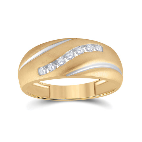 10kt Yellow Gold Mens Round Diamond Single Row Band Ring 1/4 Cttw