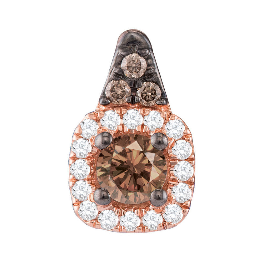 14kt Rose Gold Womens Round Brown Diamond Halo Solitaire Pendant 1/4 Cttw