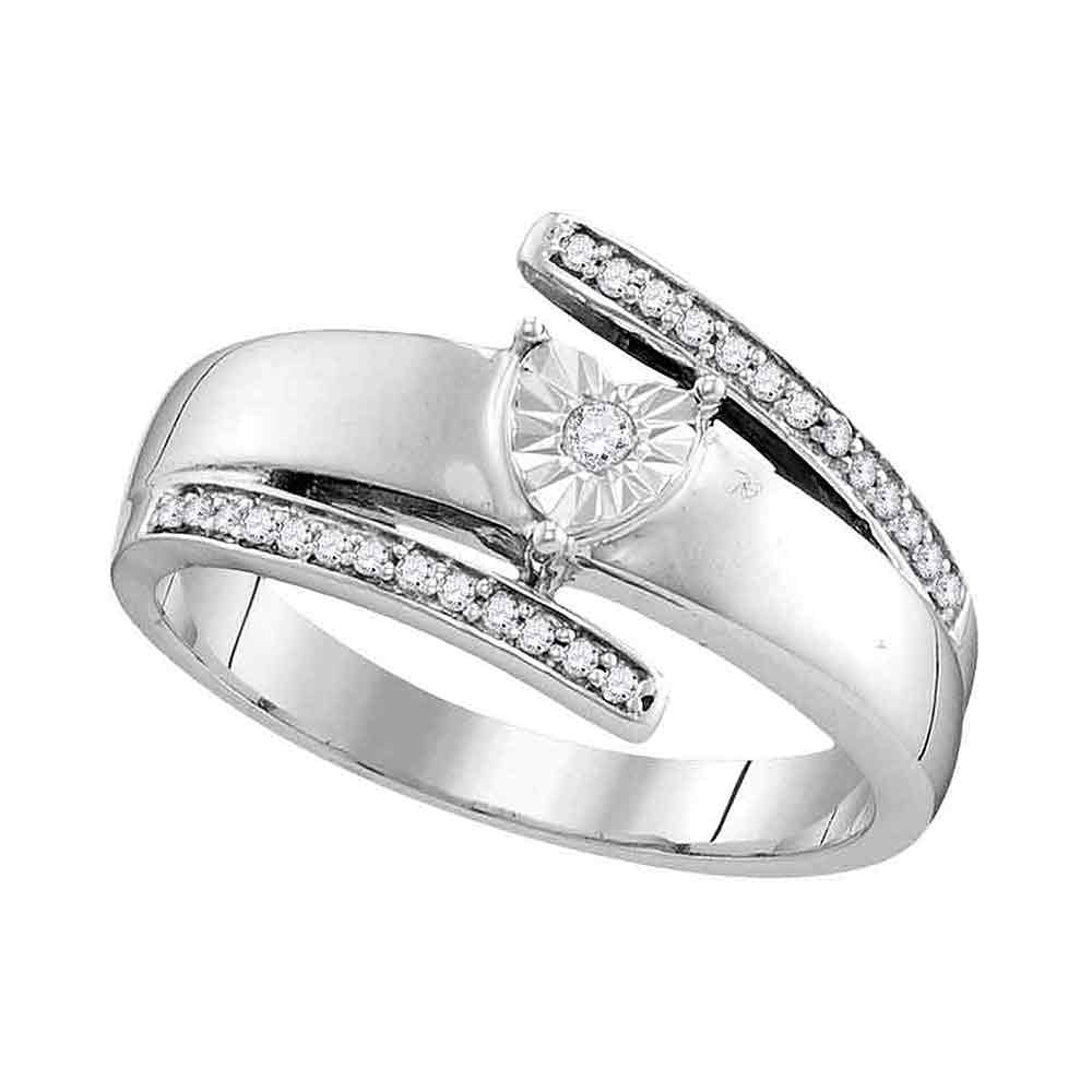 14kt White Gold Womens Round Diamond Solitaire Promise Ring 1/10 Cttw