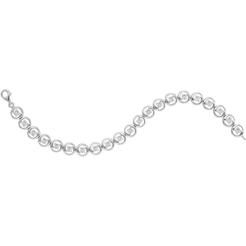 Sterling Silver Womens Round Diamond Fashion Bracelet 1/6 Cttw