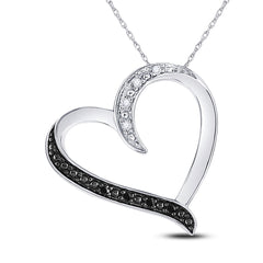 Sterling Silver Womens Round Black Color Enhanced Diamond Simple Heart Pendant 1/20 Cttw