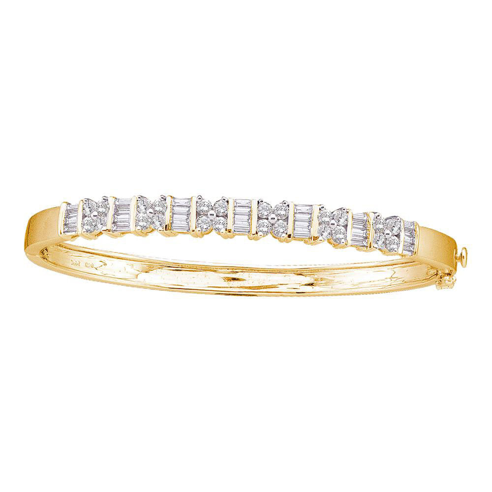 14kt Yellow Gold Womens Round Diamond Bangle Bracelet 2 Cttw