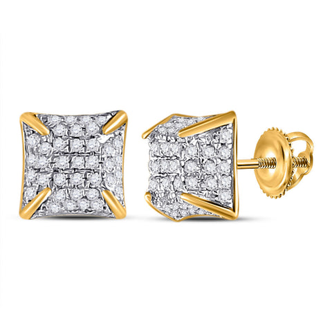 10kt Yellow Gold Womens Round Diamond Square Earrings 1/5 Cttw