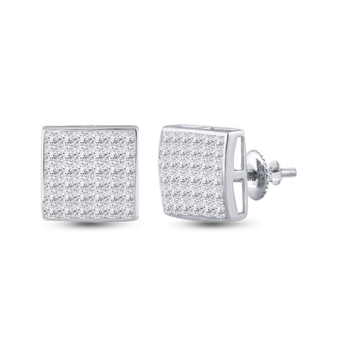 14kt White Gold Womens Princess Diamond Square Cluster Earrings 2 Cttw
