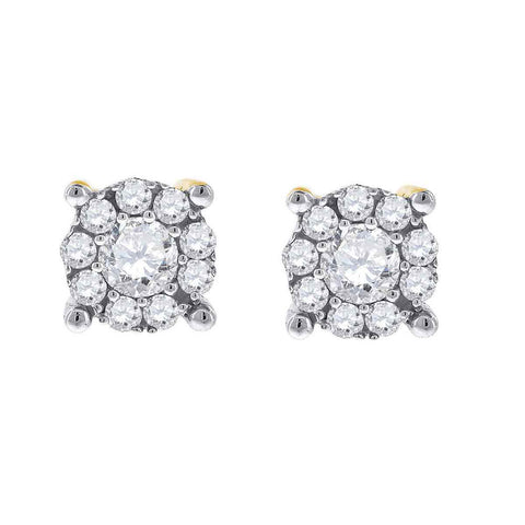 14kt White Gold Womens Round Diamond Cluster Earrings 1/2 Cttw