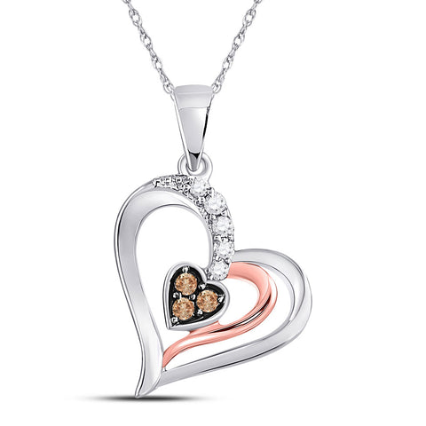 10kt Two-tone Gold Womens Round Brown Diamond Heart Pendant 1/8 Cttw