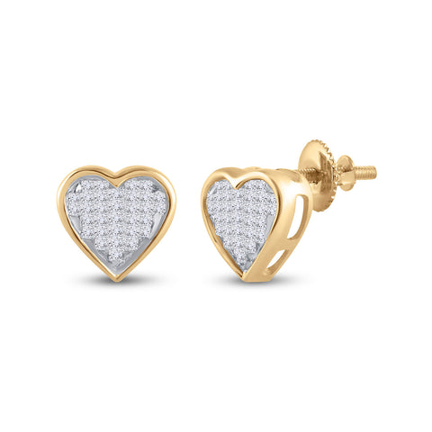 10kt Yellow Gold Womens Princess Diamond Heart Earrings 1/3 Cttw