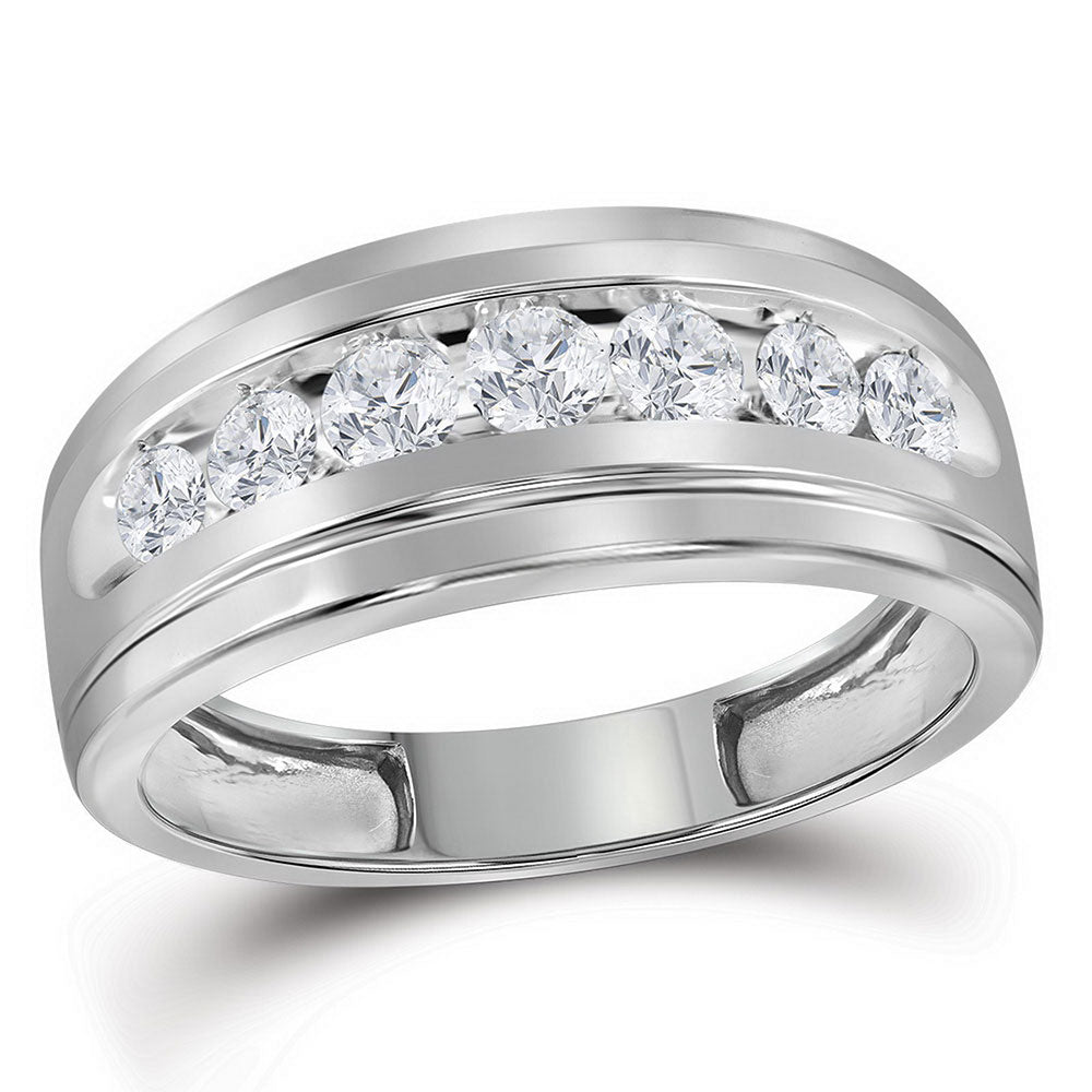 10kt White Gold Mens Round Diamond Wedding Channel-Set Band Ring 3/4 Cttw