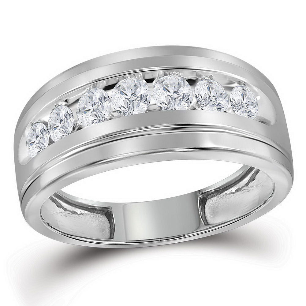 10kt White Gold Mens Round Diamond Wedding Channel-Set Band Ring 1 Cttw