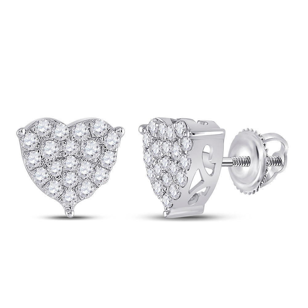10kt White Gold Womens Round Diamond Heart Earrings 1 Cttw