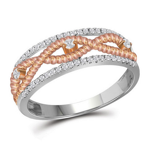 10kt White Gold Womens Round Diamond Rose-tone Rope Twist Band 1/4 Cttw