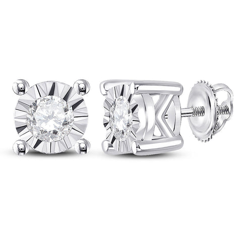 10kt White Gold Womens Round Diamond Solitaire Stud Earrings 1/4 Cttw
