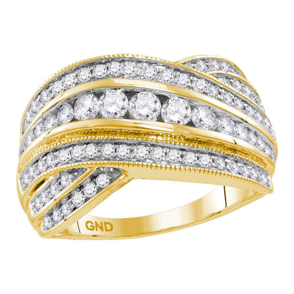 14kt Yellow Gold Womens Round Diamond Fashion Crossover Band Ring 1 Cttw
