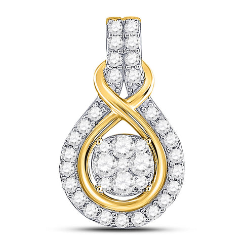 10kt Yellow Gold Womens Round Diamond Cluster Pendant 1/2 Cttw