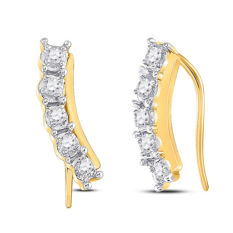 10kt Yellow Gold Womens Round Diamond Graduated Climber Earrings 1/6 Cttw