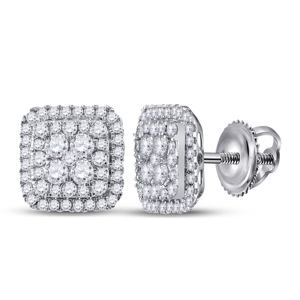 14kt White Gold Womens Round Diamond Cushion Cluster Earrings 1-1/2 Cttw