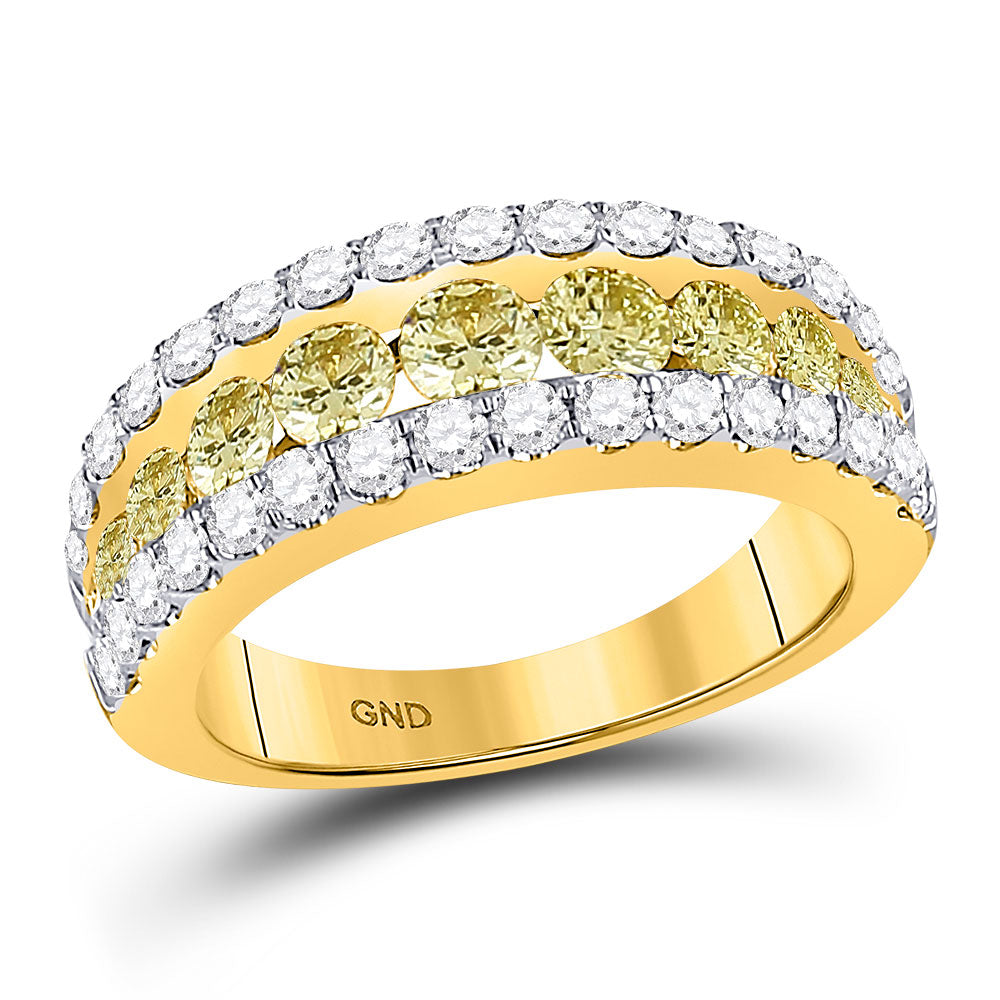 14kt Yellow Gold Womens Round Yellow Diamond Triple Row Band Ring 2 Cttw